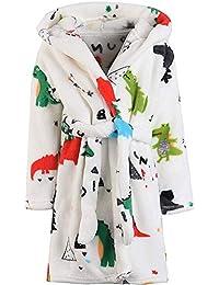 CJMJXPH 男孩女孩毛绒浴袍连帽衫,幼儿儿童中性长袍柔软儿童睡衣礼物