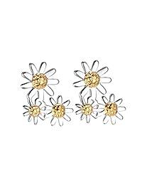 Daisy 18K镀金925纯银 '复古'系列 15mm小雏菊挂坠耳环