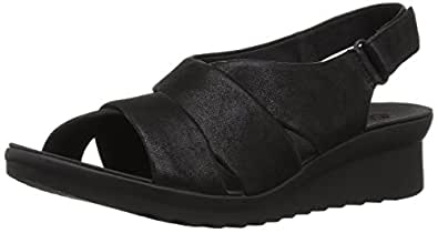 Clarks 女式 Caddell 花瓣凉鞋 Black Synthetic Nubuck 6