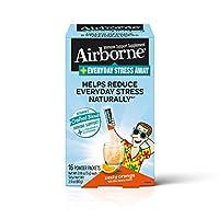 Airborne Everyday Stress Away 維生素 C  + L-茶氨酸 & B 族維生素,熱情橙子口味混合營養粉(每盒16包 ),有助于自然減輕日常壓力