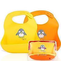 NatureBond 婴儿和幼儿硅胶婴儿围嘴(2 个装) | 防水袋 | 易擦拭,柔软,男女皆宜,可爱刺激*的颜色