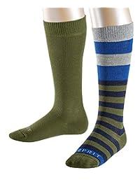 ESPRIT 思捷儿童条纹及膝袜 - 2 双,尺寸 23-42,不同尺寸 颜色,82% 棉 - 及膝袜,条纹和混色设计