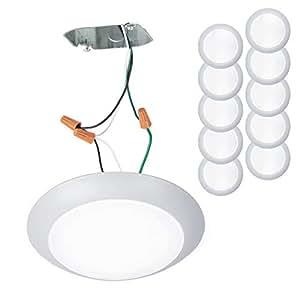 WAC Lighting FM-306-930-BN 盘能量之星 Soft 白色 LED 3000K 嵌入式安装,大号,拉丝镍 白色 每包10条 FM-306-930-WT-10 需配变压器