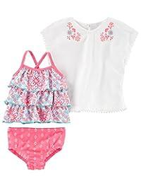 Carter's 卡特女婴 3 件套印花游泳套装和罩衫套装