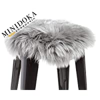 Desert Breeze Distributing 澳大利亚羊皮座椅靠垫、凳子或椅套,35.56 x 35.56 厘米,圆形,通用,Minidoka Sheepskin 出品 银色