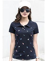 FABEILAI 2018夏季新款欧美女装时尚叶子印花短袖T恤上衣翻领大码修身半袖打底衫女2008