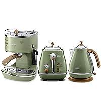 De'Longhi 德龙 Icona Vintage 复古早餐系列 咖啡机+多士炉+电水壶 橄榄绿 (意大利品牌 海外自营 国内官方联保两年)(包邮包税)