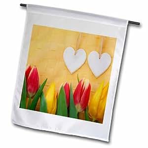 3dRose fl_76994_1 两件热带红和黄色郁金香花园旗,30.48 x 45.72 cm
