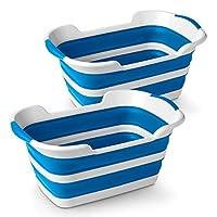 "Stylin' Home 2 件装塑料可折叠弹出式洗衣和储物篮,小号 白色和蓝色 24"" x 15.75"" x 10.5"""