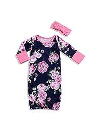 Unmega 新生女婴印花睡袍 + 头带套装