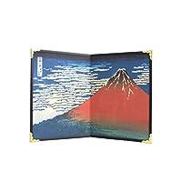 日本可折叠屏幕 Byobu - South Wind,透明天空(红色Fuji),Hokusai 作品,20.32 cm×13.97 cm