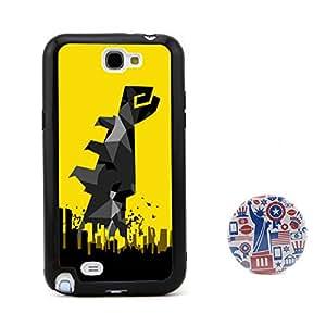 蝙蝠侠 超级英雄拳头图案浮雕设计风格 塑料+TPU手机壳 手机套 适用于 Samsung三星 Galaxy Note2 Note II N7100 赠送2.3英寸美国风格卡通胸章