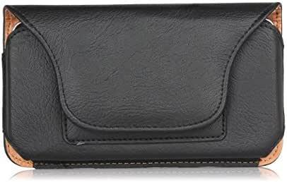 Yinoinge 男式小款 PU 皮旅行装皮带夹皮套带纽扣保护套袋适用于 LG V35 ThinQ/LG V30S ThinQ/LG V30 / LG K30 / LG Q7+ / LG G6+ M 黑色