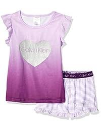 Calvin Klein 女童两件式短袖睡衣长裤套装(Pj)