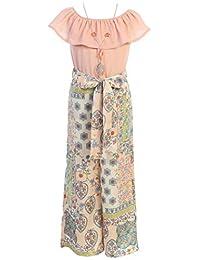 BluNight Collection 小女孩无袖宽松版型连身衣雪纺腰带夏季连身衣