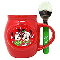 Disney 角色圣诞马克杯和勺子礼品套装含有可混合和棉花糖,1.70 盎司