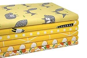 iEFUN 6 件 50.80 cm x 55.88 cm,* 纯棉*布料束,缝制工艺绗缝面料 # 7 Yellow B EF2018Q1001
