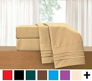 优雅舒适 3 件套床单套装 - 奢华高级床上用品 1500 支埃及品质抗皱不褪色防*凉爽透气,弹性好 驼色 加州King size 822RRW-Cal-King-Gold