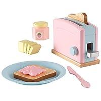 KidKraft 63374 Pastel Toaster 木制假装玩具食品套装,儿童游戏厨房用具和配件
