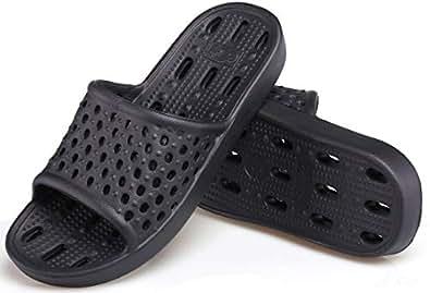 女式浴室鞋淋浴凉鞋防滑浴室拖鞋 柔软轻质快干健身拖鞋 带孔 黑色 8-8.5 US Men/EU 42-43
