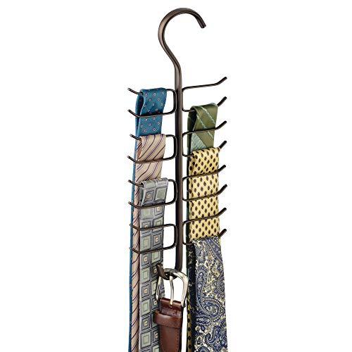 mDesign縦型スチールワイヤーワードローブコネクティングロッドサスペンションアクセサリー収納ベルト、ベルト、スカーフ用アクセサリー17収納フック - ブロンズ