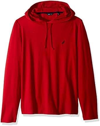 Nautica 男士长袖套头连帽衫运动衫, Nautica 红色 Small