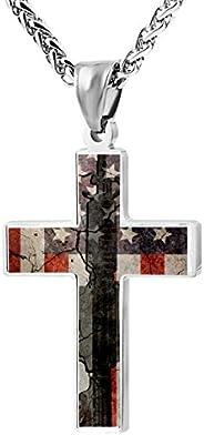 *时尚枪支美国国旗十字架吊坠项链珠宝男女通用