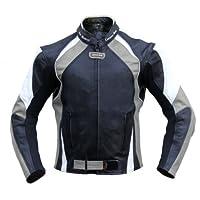 German Wear,皮質摩托車夾克,摩托車夾克,由牛皮制成,組合夾克,黑色/灰色/白色 54 (EU) 黑色 GW415J Grau Schwarz/Grau Weiss 54
