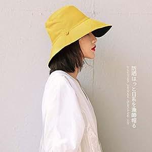 【双面渔夫帽】渔夫帽女士春夏遮阳帽双面纯色布帽可折叠太阳帽大沿帽子 (女士渔夫帽黄黑色)
