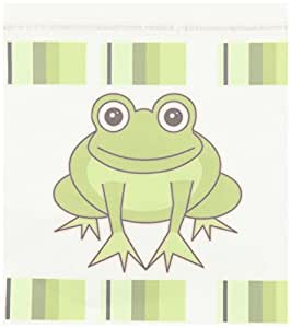 3dRose ht_6104_2 Cute Happy Green Frog with Stripes-Iron on Heat Transfer for White Material, 6 by 6-Inch