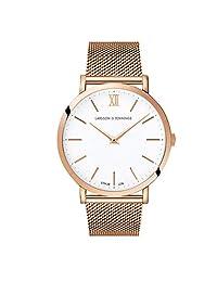 Larsson & Jennings LJXII Lugano 中性款男士和女士手表,40 毫米緞面白色表盤和玫瑰金鍍玫瑰金不銹鋼表帶 LX40-MRG-RGW。