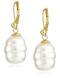 Majorica 12mm White Baroque Pearl Drop Vermeil Earrings