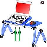 Desk York 电脑便携式桌 – 可调节灯架适用于笔记本电脑的调节灯架 – 符合人体工程学的电视床舱垫托盘 – 透气 w/CPU 风扇 – 鼠标垫和 Usb 线 – *大 43.18 厘米黑色 Large Blue With Fans