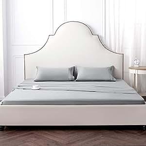 床单 - 拉丝超细纤维 1800 床单套装 - 2.54 厘米 - 冷却和透气 - 抗皱、褪色、污渍 - 低*性 - 6 件 浅灰色 King