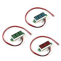 3 件迷你数字电压计 LED 数字电压计 MELIFE 0.28 英寸 4V-30V 电压计 汽车移动电源电压检测仪 12V 红绿蓝