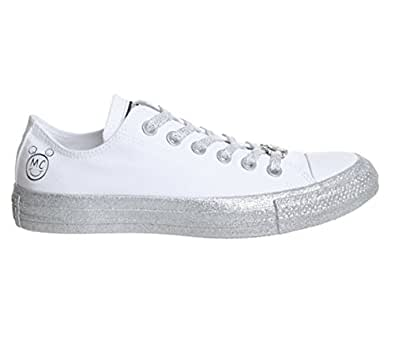 Converse 女式 x Miley Cyrus Chuck Taylor All Star Lo 运动鞋 White Pure Platinum 黑色 9572 Mens 3/Womens 5
