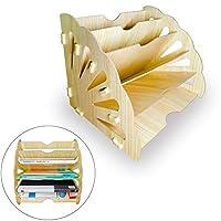 木制桌面文件分类整理器,信纸托盘和堆叠支持杂志桌面文件夹和学生存储 - 学校和办公室用品 - 桌面5层支架 - A4纸架