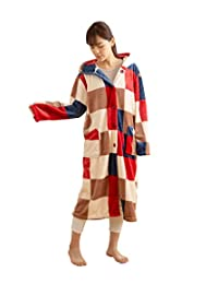 Niceday mofua 可穿着式毛毯 高级超细纤维 保暖居家服 带兜帽 格子花纹红色 Mサイズ 484764C8