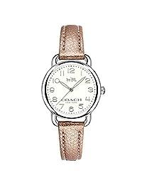 COACH 女式 Delancey 28 毫米皮革表带手表银色/金属玫瑰色金色手表