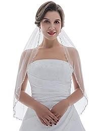 1T 1 层珍珠银珠花新娘面纱肘长 76.2 cm