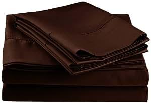 Impressions 经典褶边抗皱棉混纺 600 根加州大号双人床 4 件套床单套装 纯色 巧克力色 全部 CR600FLSH FACH