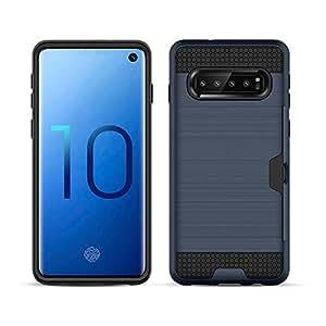 光滑防震三星 S10+/S10/S10e 拉丝碳手机壳带卡包 S10 蓝色