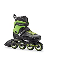 Rollerblade Cyclone 儿童中性尺寸可调内嵌滑冰,黑色和酸绿色,高性能内嵌滑冰鞋