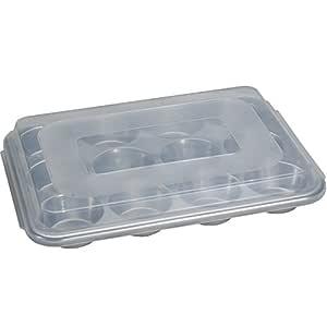 Nordic Ware 天然铝质商用松饼烤盘 带盖子,12 杯