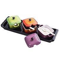 宝优妮 调料罐套装陶瓷佐料盐罐带盖糖罐家用调料盒厨房组合调味罐DQ9082-5(亚马逊自营商品, 由供应商配送)