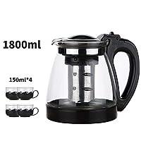 玻璃泡茶壶耐热花茶壶透明泡茶器过滤冲茶器功夫茶具茶杯家用套装黑色1800毫升壶+4只150毫升杯子