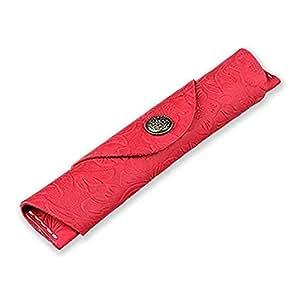 Oak-Pine 复古纽扣设计 皮革 单笔 盒 手工钢笔袋 软铅笔保护套 Red Carving