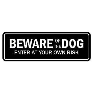 """标准 Beware of The Dog 门/墙壁标志 3"""" x 9"""" - Large 黑色"""