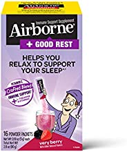 Schiff 旭福 Airborne  維生素C混合+ L-茶氨酸和維生素  -Airborne 漿果粉(1盒16袋)