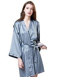 女式纯色短款缎面和服夏季长袍伴娘浴袍丝绸 V 领睡衣